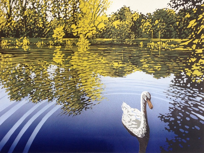 Lake View with Swan by Alexandra Buckle