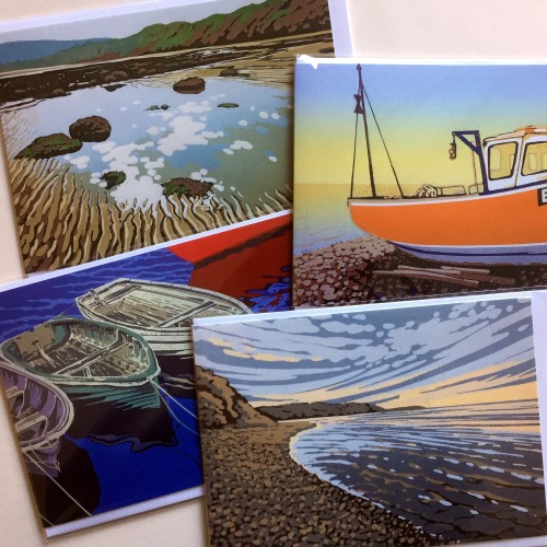 Greetings cards, set of four coastal images by Alexandra Buckle