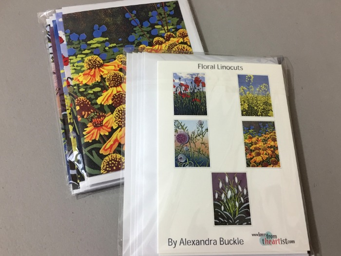 Greetings card pack of floral linocuts by Alexandra Buckle