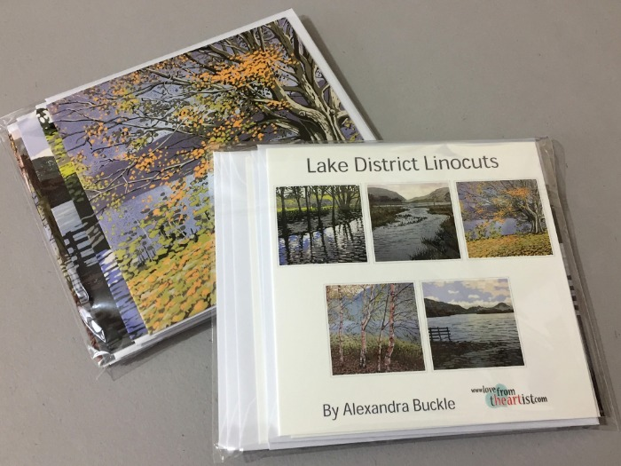 Greetings card pack of Lake District linocuts by Alexandra Buckle
