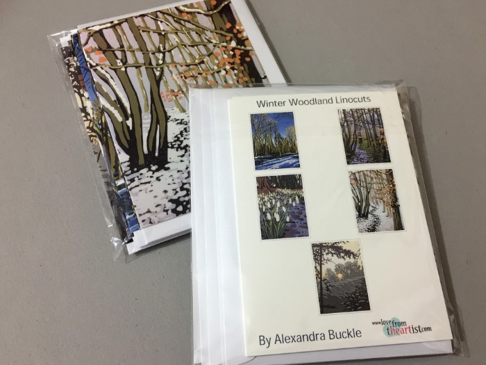 Greetings card pack of winter woodland linocuts by Alexandra Buckle