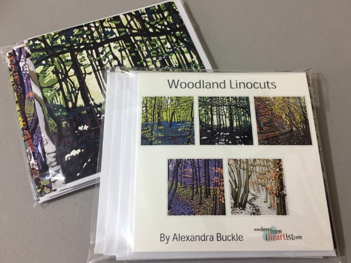 Greetings card pack of seasonal woodland linocuts by Alexandra Buckle