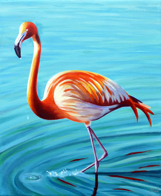 Paintings alexandra buckle for Flamingo feather paint